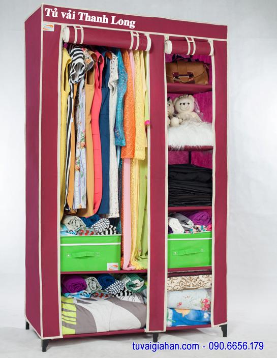Tủ vải đựng quần áo TVAI01 màu đỏ đô