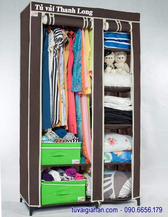 Tủ vải đựng quần áo TVAI01 màu nâu