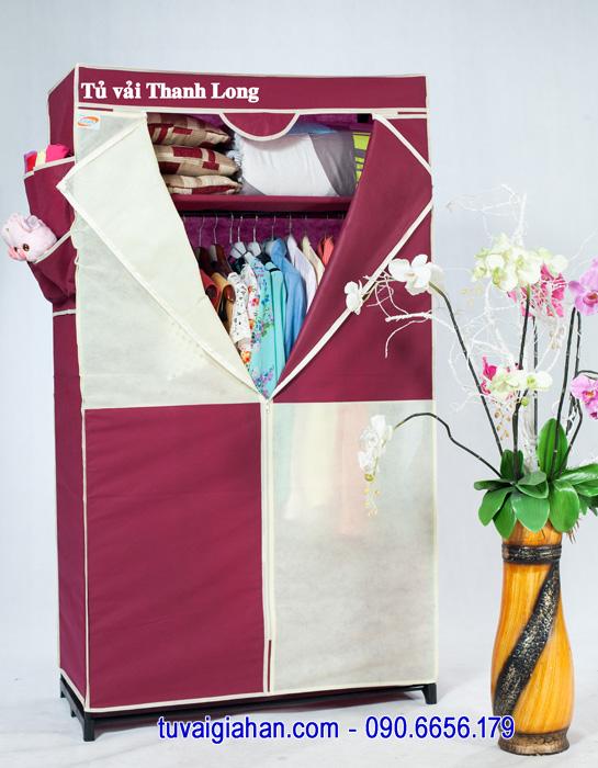 Tủ vải đựng quần áo TVAI02 màu đỏ đô