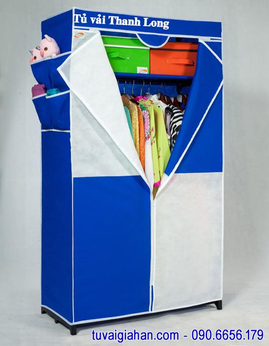 Tủ vải đựng quần áo TVAI02 màu xanh dương