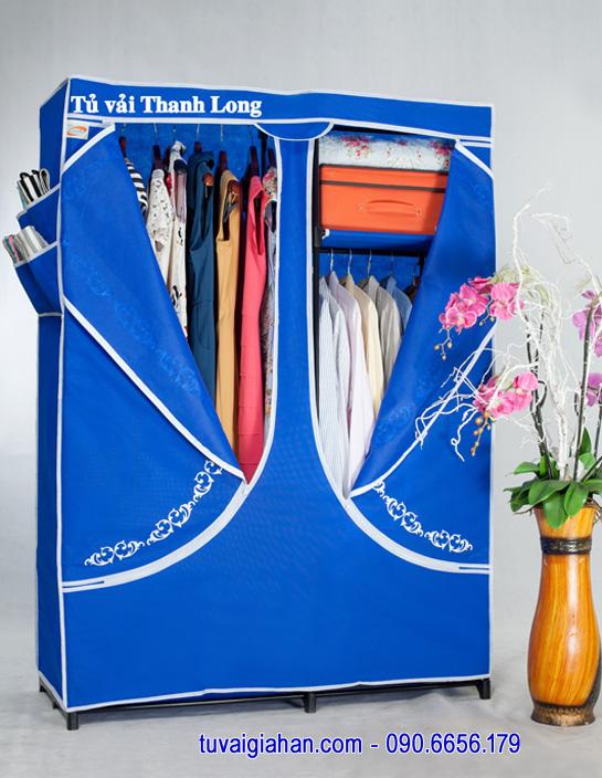 Tủ vải đựng quần áo TVAI03 màu xanh dương
