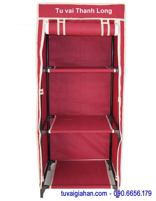 Tủ vải đựng quần áo TVAI04 màu đỏ đô