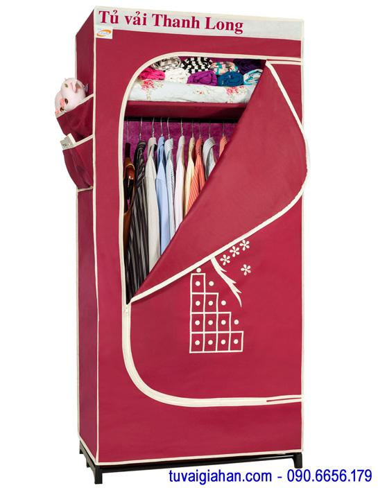 Tủ vải đựng quần áo TVAI06 màu đỏ đô