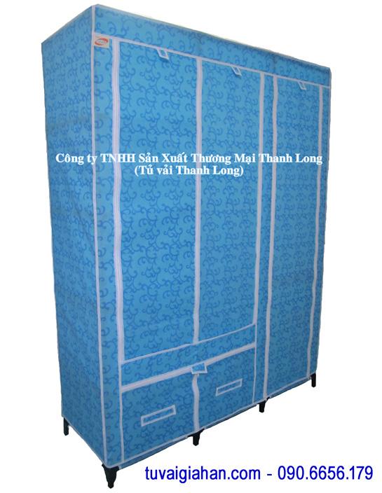 Tủ vải đựng quần áo TVAI07 hoa văn xanh