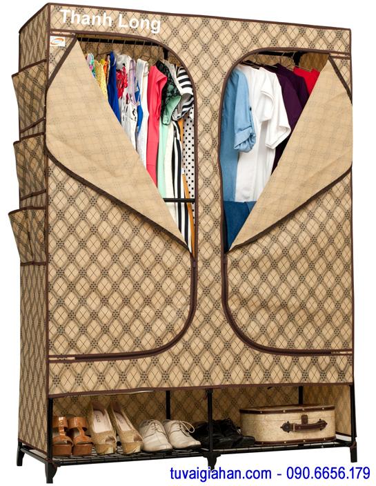 Tủ vải đựng quần áo TVAI08 caro cafe sữa
