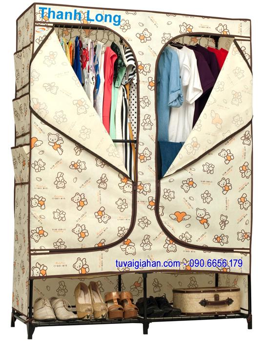 Tủ vải đựng quần áo TVAI08 gấu kem