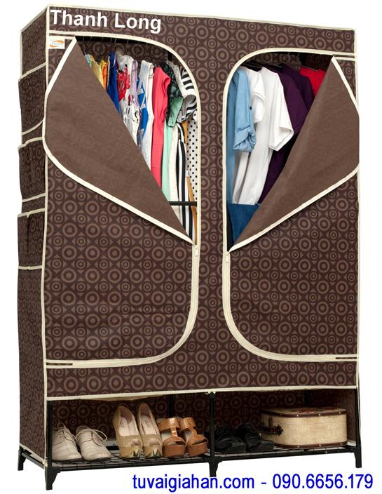 Tủ vải đựng quần áo TVAI08 hoa văn nâu