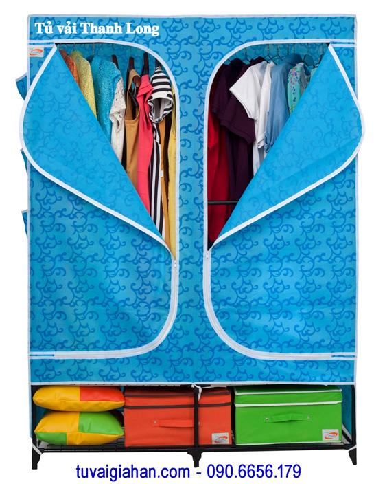 Tủ vải đựng quần áo TVAI08 hoa văn xanh