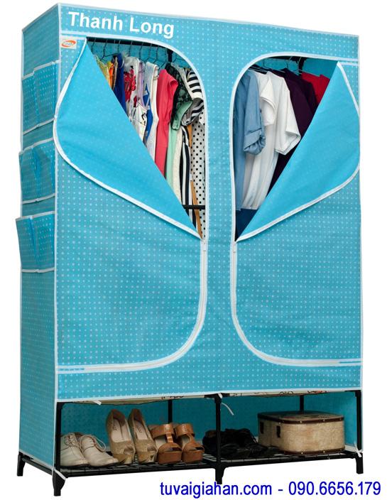 Tủ vải đựng quần áo TVAI08 xanh chấm bi