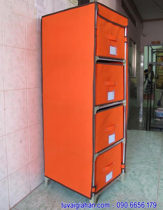 Tủ vải đựng quần áo TVAI09 màu cam