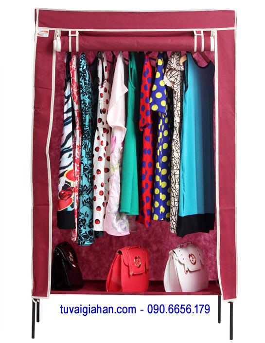 Tủ vải đựng quần áo TVAI10 màu đỏ đô
