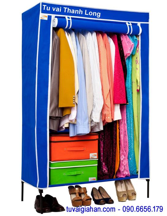 Tủ vải đựng quần áo TVAI10 màu xanh dương