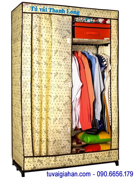 Tủ vải đựng quần áo TVAI11 hoa văn mặt cười