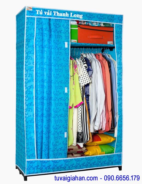 Tủ vải đựng quần áo TVAI11 hoa văn xanh