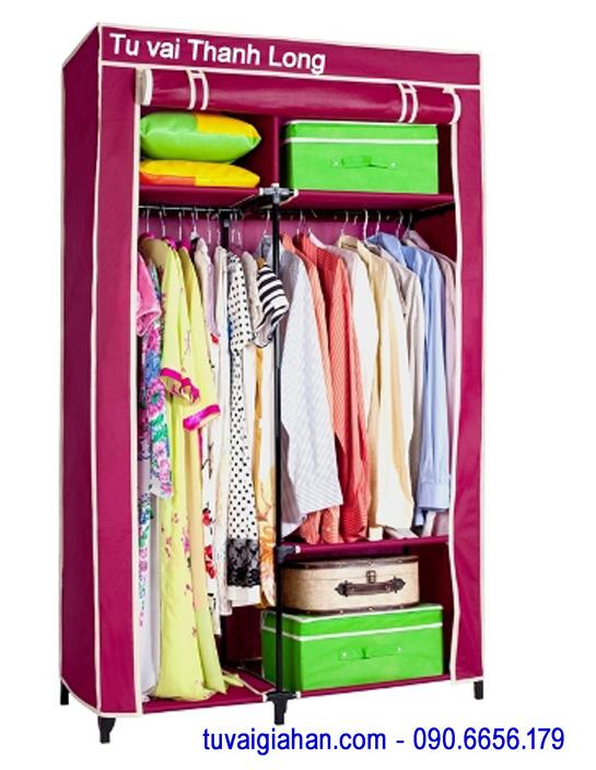 Tủ vải đựng quần áo TVAI12 màu đỏ đô