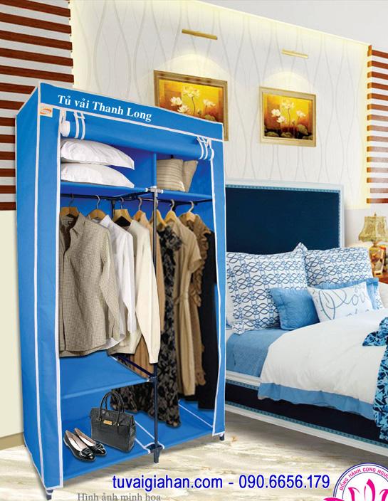 Tủ vải đựng quần áo TVAI12 màu xanh dương