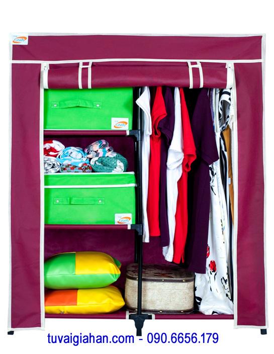 Tủ vải đựng quần áo TVAI13 màu đỏ đô