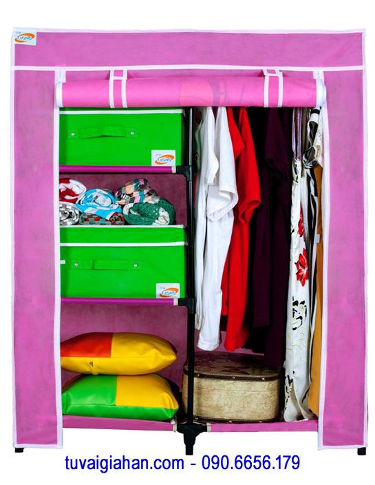 Tủ vải đựng quần áo TVAI13 màu hồng