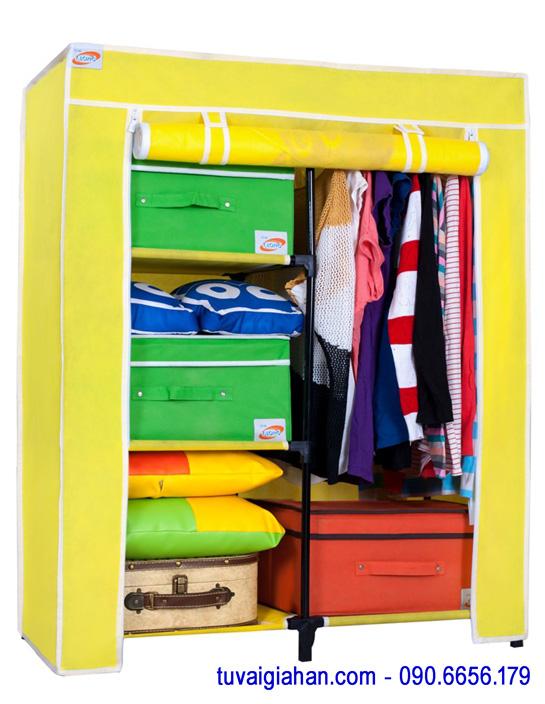 Tủ vải đựng quần áo TVAI13 màu vàng