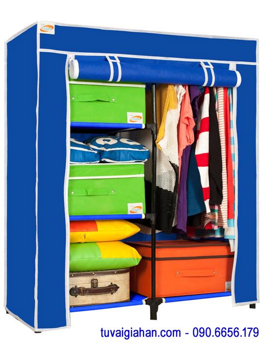 Tủ vải đựng quần áo TVAI13 màu xanh dương