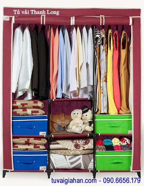 Tủ vải đựng quần áo TVAI14 màu đỏ đô