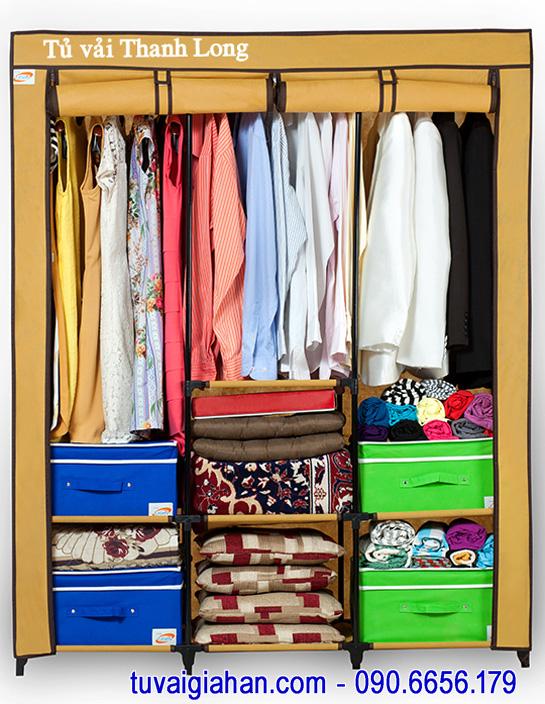 Tủ vải đựng quần áo TVAI14 màu vàng nghệ