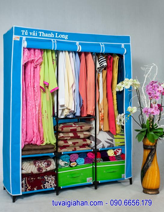 Tủ vải đựng quần áo TVAI14 màu xanh biển