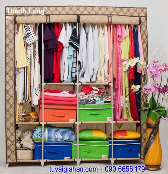 Tủ vải đựng quần áo TVAI15 caro cafe sữa