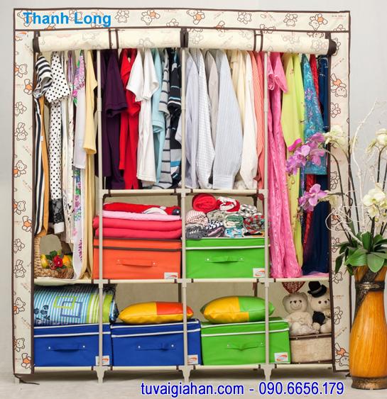 Tủ vải đựng quần áo TVAI15 gấu kem