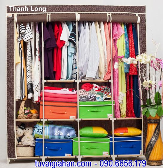 Tủ vải đựng quần áo TVAI15 hoa văn nâu