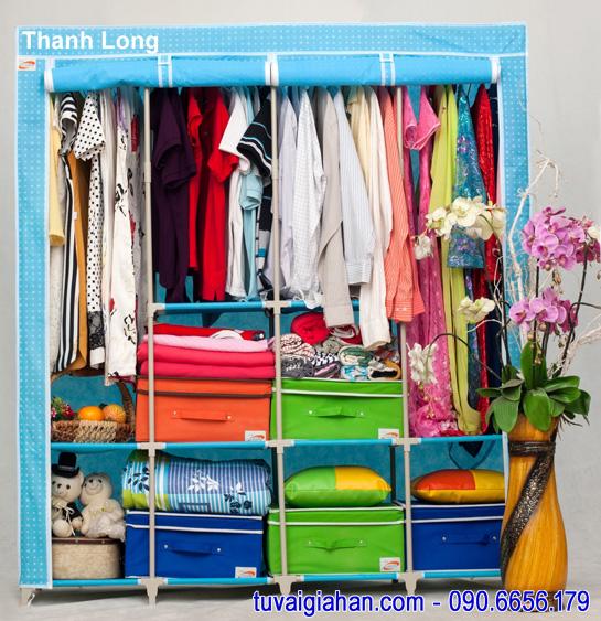 Tủ vải đựng quần áo TVAI15 xanh chấm bi